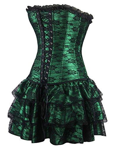Burvogue - Vestido de encaje con corsé y falta para mujer, diseño gótico Verde
