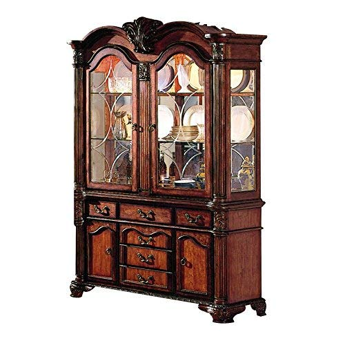 Wood China Cabinet - ACME AC-04079 Hutch & Buffet Cherry