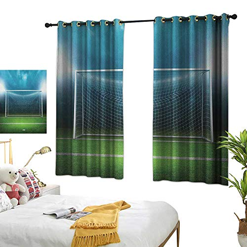 Bedroom Curtains W63 x L45 Soccer,Soccer Goal Post Sports Area Winner Loser Line Floodlit Best Team Finals Game Theme, Green Blue Blackout Window Curtains Living Room Dining Room Kids Youth Room]()