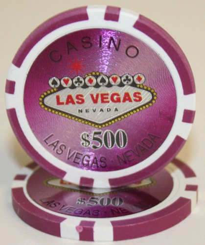 25 $500 Las Vegas 14 Gram Laser Graphic Poker Chips (14 Gram Laser Graphic)