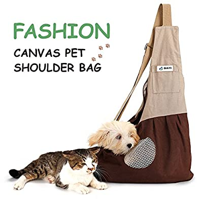 Pet Sling Carrier Shoulder Bag SIAYI Hands Free Reversible Traveling Comfortable Puppy Purse with Built-in Hook for 3-8 Lbs Dog Cat Adjustable Double-zipper Pouch Pack for Walking Motorcycling by SIAYI
