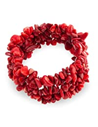 Fashion Red Dyed Coral Cluster Chips Statement Wide Stretch Bracelet for Women for Teen
