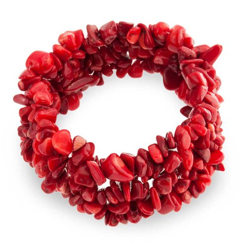 Red Bracelet Chip Coral (Woven Red Dyed Coral Chips Chunky Stretch Bracelet)