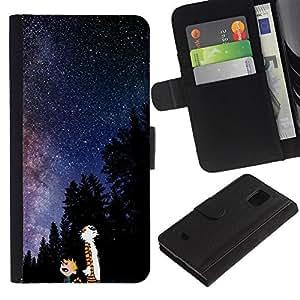 LECELL--Cuero de la tarjeta la carpeta del tirón Smartphone Slots Protección Holder For Samsung Galaxy S5 Mini, SM-G800 -- Catoon Gato Vía Láctea --
