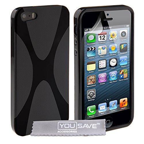 iPhone 5S Tasche Schwarz Silikon Gel X-Linie Hülle