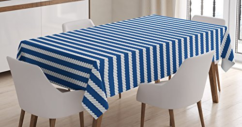Rope Pattern (Navy Blue Decor Tablecloth by Ambesonne, Yacht Navy Themed Rope Stripe Pattern on Dark Blue Background , Dining Room Kitchen Rectangular Table Cover, 60 W X 84 L Inches, Navy Blue and White)