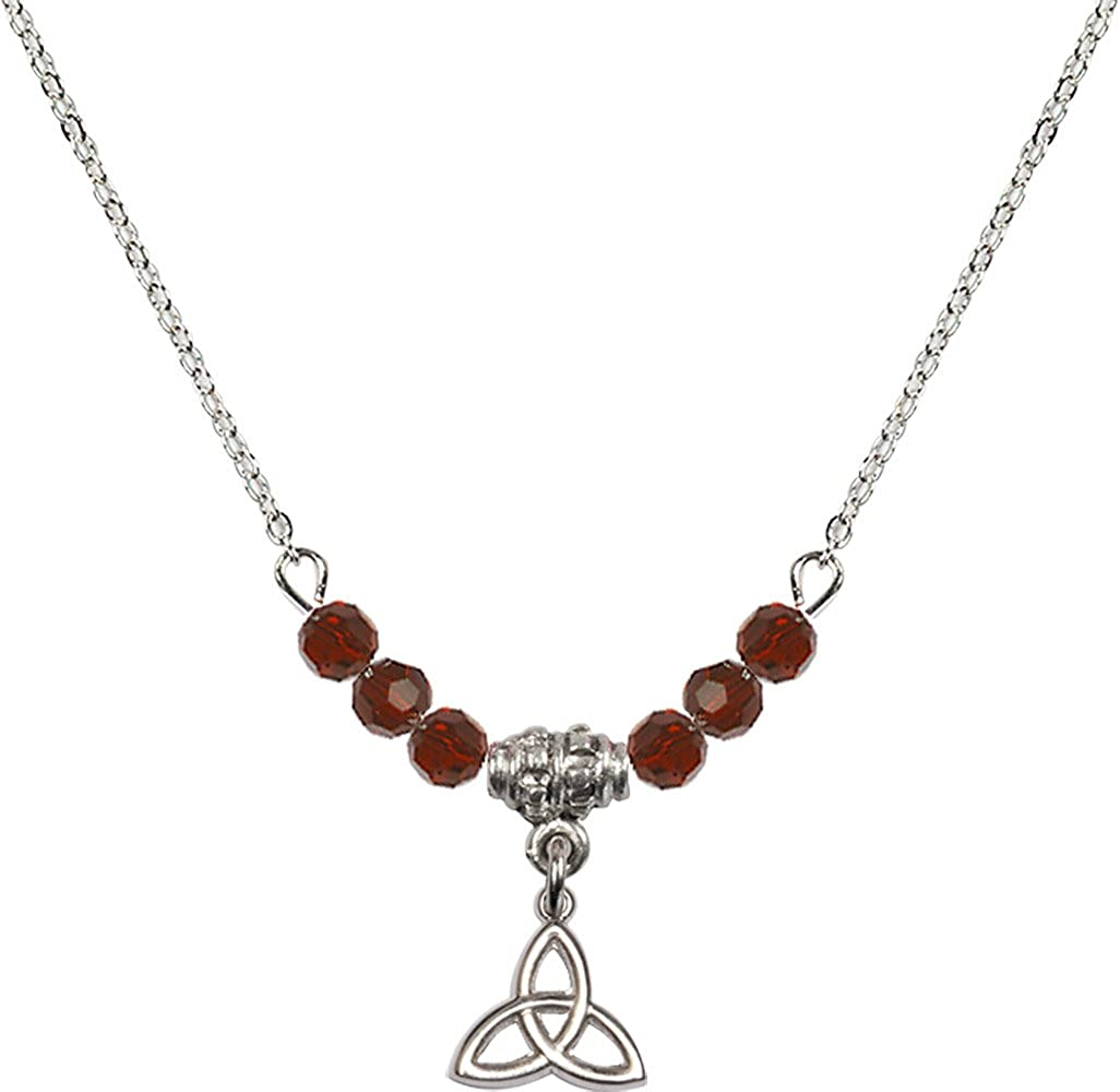 18-Inch Rhodium Plated Necklace with 4mm Garnet Birthstone Beads and Sterling Silver Trinity Irish Knot Charm.
