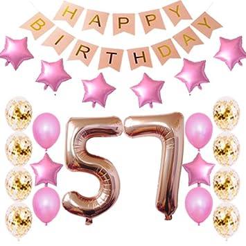 Amazon.com: Decoración de cumpleaños número 57 para fiesta ...