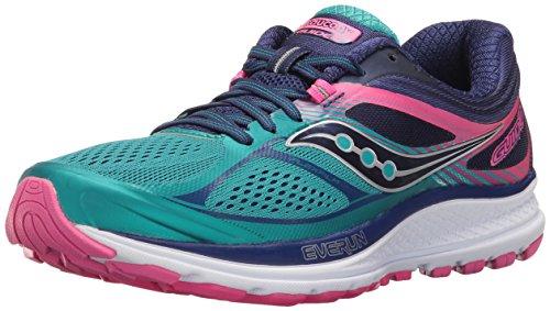 Saucony Women's Guide 10 Running Shoe, Teal/Navy/Pink, 10.5 M US