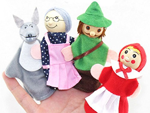 Wanrane 4Pcs/Set Little Red Riding Hood Finger Puppet Toy Kid Toy Fairy Tale Finger Doll