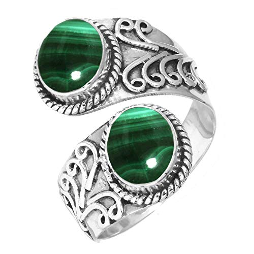 - 925 Sterling Silver Ring Natural Malachite Handmade Jewelry Size 9.5
