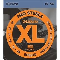 1 of DAddario EPS510 ProSteels Electric Guitar Strings, Regular Light, 10-46