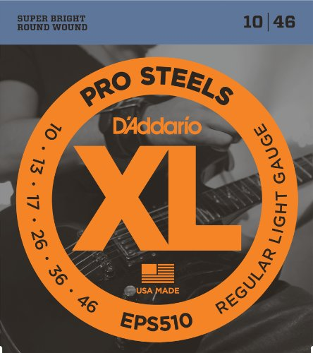 (D'Addario EPS510 ProSteels Electric Guitar Strings, Regular Light, 10-46)