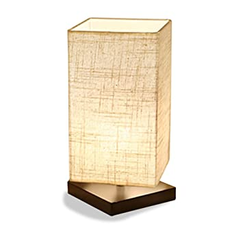 ZEEFO Simple Table Lamp Bedside Desk Lamp With Fabric Shade And Solid Wood  For Bedroom,