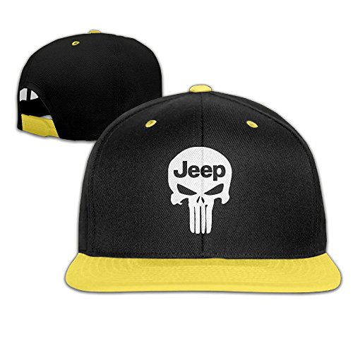 sunny-fish6hh-unisex-adjustable-punisher-skull-jeep-hiphop-baseball-caps-hat-for-kids-teenager-yello