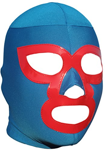 Deportes Martinez Nacho Libre Lycra Lucha Libre Luchador Wrestling Masks Adult Size, Blue, One Size]()