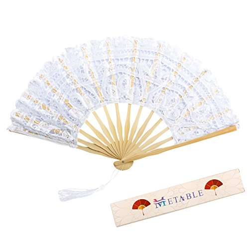Metable Women Lace Folding Fan Handmade Cotton Lace Embroidered with Bamboo Frame Hand Held Fans Victorian Design for Dancing Cosplay Wedding Decoration(White) (Frame Embroidered)