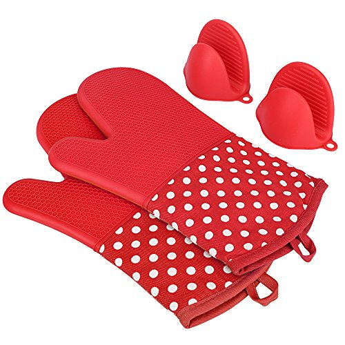 KEDSUM Heat Resistant Silicone Oven Mitts, Extra Long Quilted Cotton Lining Potholder Gloves with Mini Oven Mitts --Non-Slip