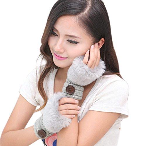 Guantes calientes para Mujeres,Ouneed ® Muñeca guantes sin dedos mitones de piel de conejo falso invierno caliente Gris