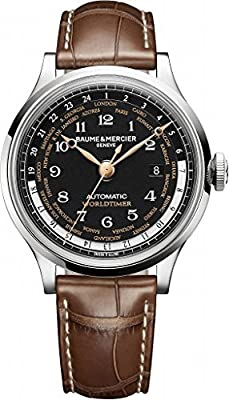Baume and Mercier Capeland Worldtimer Automatic Black Dial Brown Leather Mens Watch MOA10134