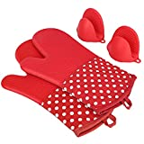 KEDSUM Heat Resistant Silicone Oven Mitts ,Extra Long Quilted Cotton Lining Potholder Gloves with Mini Oven Mitts --Non-Slip Kitchen Gloves for Baking, Cooking, BBQ