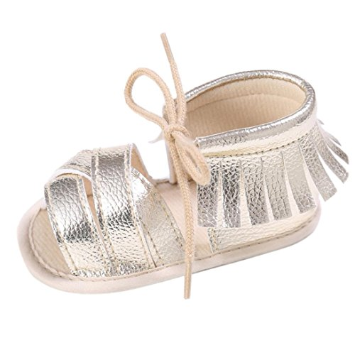 Lace Up Slingbacks (Sikye Newborn Girls Boys Crib Shoes Soft Sole Anti-slip Baby Sneakers Fringe Lace-Up Sandals (US:2.5, Gold))
