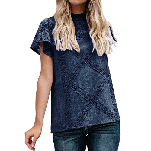 Summer Womens Lace Patchwork Sexy Flare Ruffles Short Sleeve Cotton Blend Plus Size Blouse Tops by QIQIU Navy]()