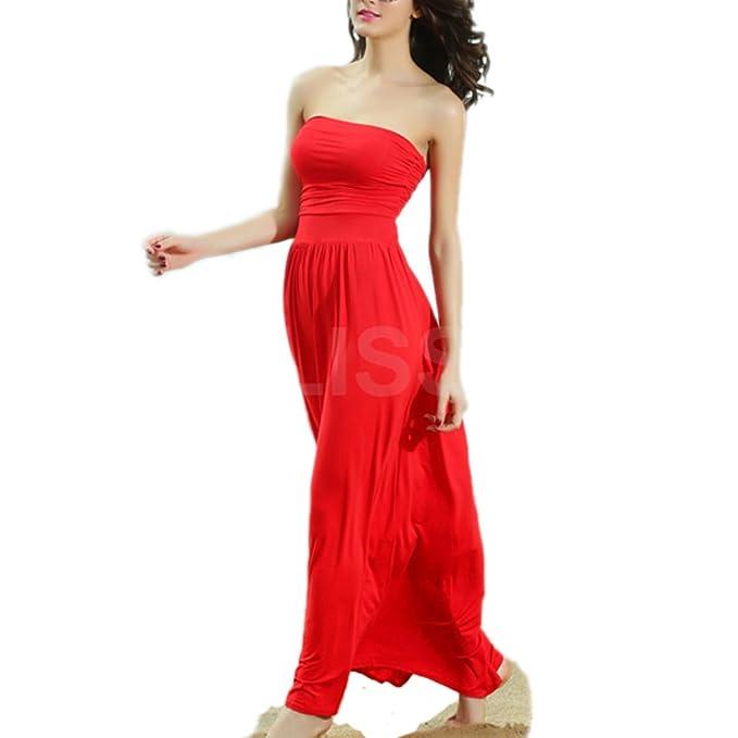 half off 7e1cf 38366 ABILIO - vestito lungo abito estivo rosso festa vestitino ...