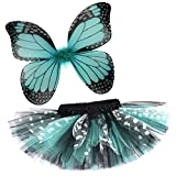 Rockstar Tutu Girl's Butterfly Tutu and Wings Costume Set -Aqua Blue-14-16 Years (28-30'' Low Waist)