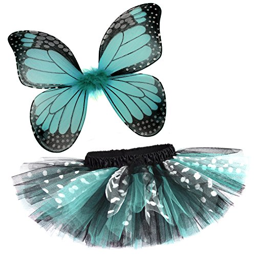 [Rockstar Tutu Baby Girl's Butterfly Tutu and Wings Costume Set -Aqua Blue-12-24 Months (17-20
