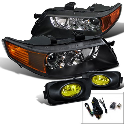 (Spec-D Tuning LF2LHP-TSX04JAM-RS Fog Headlight (Acura TSX Black Diamond Amber Bumper))