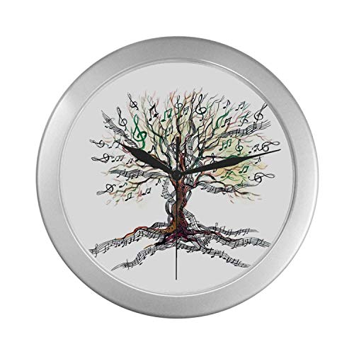 (C COABALLA Music Decor Simple Silver Color Wall Clock,Musical Tree Autumn Clef Trunk Swirl Nature Illustration Leaves Creative Design for Home Office,9.65