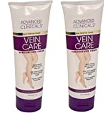 Two pack - Advanced Clinicals Vein Care Cream- Eliminate the Appearance of Varicose Veins and Spider Veins. Two 8oz tubes