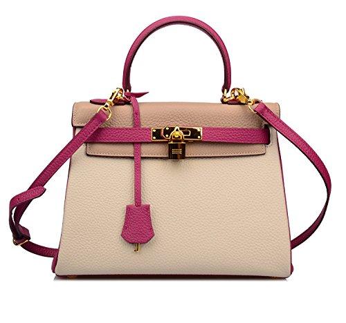 Purses Handbags Padlock Taupe Shoulder 32CM Hobo 28CM Light CM Ainifeel Purple Bag Taupe 25 Women's 85qHy0