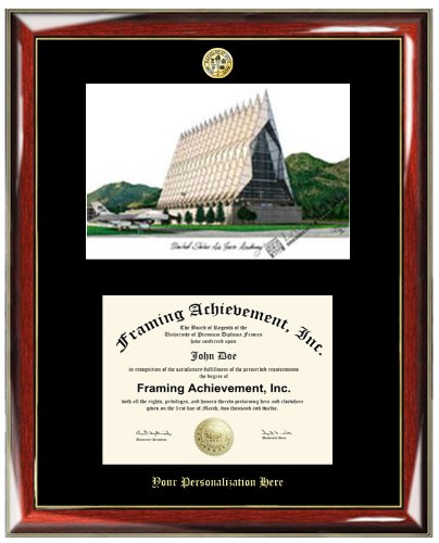 Air Force Academy Lithograph (Gold Embossed Personalization US Air Force Academy USAF Lithograph Diploma Frame - Choice of College Major Gold Seal Insignia - Premium Wood Glossy Prestige Mahogany with Gold Accents - Single Matted Black Mat )