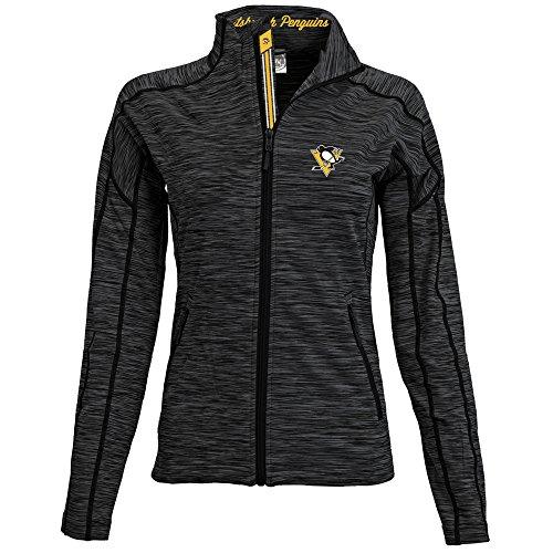 Levelwear LEY9R NHL Pittsburgh Penguins Adult Women Atlantis Banner Stripe Full Zip Mid-Layer, Medium, Charcoal