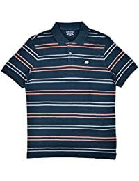 Men's Double Stripe Polo Shirt Navy Blue