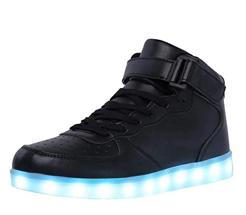 High Top LED Light Up Shoes USB Charging Sneakers For Men Women-38(black a119de1ae6aa