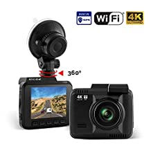 "Rove R2-4K Car Dash Cam - 4K Ultra HD 2160P Dash Board Camera, 2.4"" LCD, Super Night Vision, Built In WiFi & GPS, 150 Wide Angle, G-Sensor, Loop Recording, ROVE 2-Port USB Fast Car Charger"