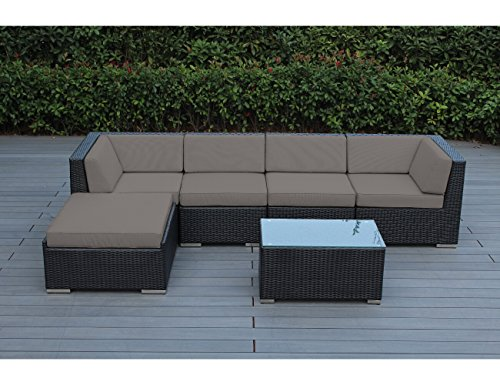 (Ohana 6-Piece Outdoor Patio Furniture Sectional Conversation Set, Black Wicker with Sunbrella Taupe Cushions - No Assembly with Free Patio Cover)