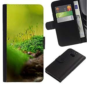 JackGot ( Natura Bella Forrest Verde 85 ) HTC One M8 la tarjeta de Crédito Slots PU Funda de cuero Monedero caso cubierta de piel