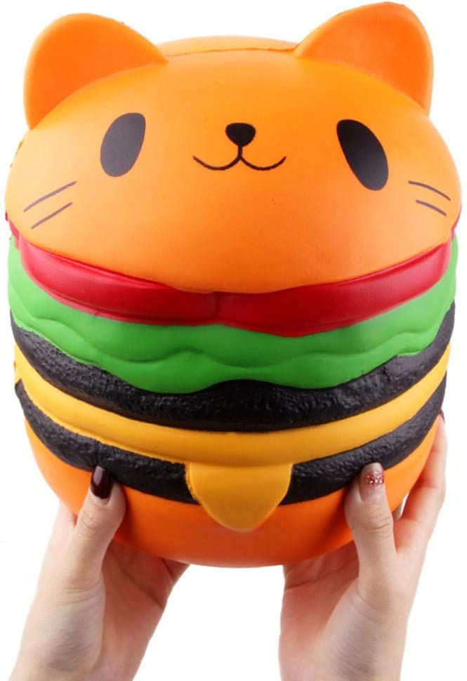 Ganjiang Giant Squishy Toys Jumbo Soft Slow Rising Squishies Collection Gift Stress Reliever (Cat Burger)