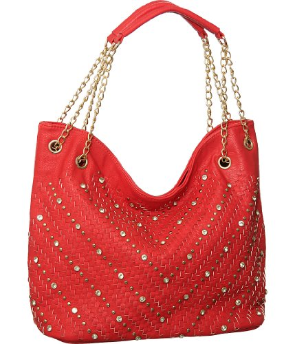 "Coral Red Studded ""Chevron Weave"" Tote, Bags Central"