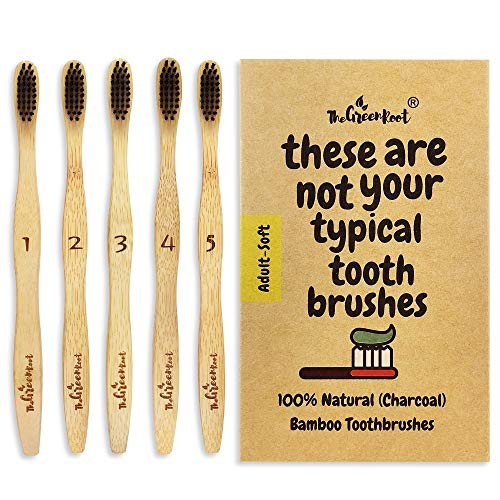 Natural Charcoal Bamboo Toothbrushes (Pack of 5) for Adults with Soft Bio-Based Nylon Bristles - Individually Packed & Numbered, Organic...