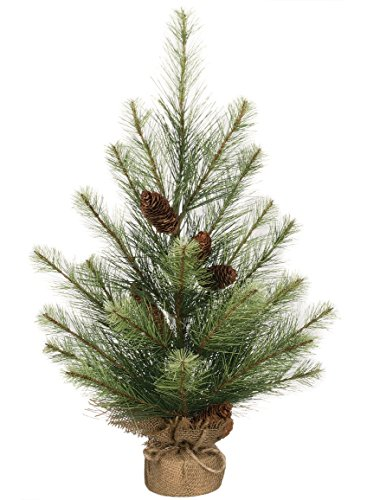 Sullivans Artificial Tannenbaum Fir Tree & Pine Cones with Burlap Base - Christmas Country Porch