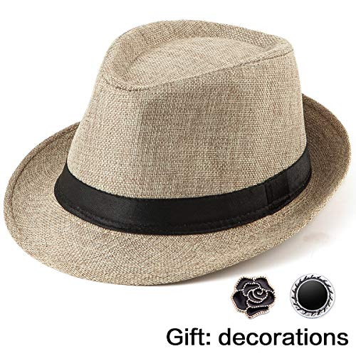 Straw Hat Mens Fedora Hat - Brown Fedora Men Sun Hats Women Trilby Hat 1920s Cap