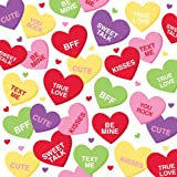 Creative Converting Valentine Candy Hearts Themed Lunch Napkins, 18 Per Package