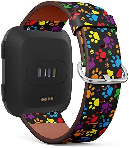 CompatibleFitbit Versa - Quick-Release Leather Band Bracelet Strap Wristband Replacement - Colorful Paw Print / CompatibleFitbit Versa - Quick-Release Leather Band Bracelet Strap Wristband Replacement - Colorful Paw Print
