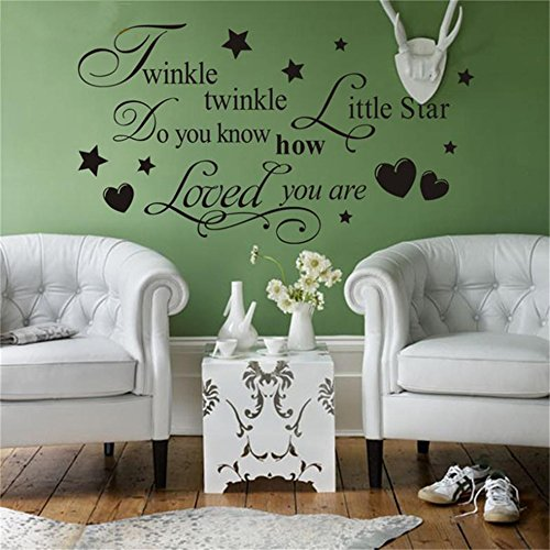 Wall Sticker Quote Creative Twinkle Litter Star Quotes Wall Stickers Living Room Bedroom Vinyl Decorative Wedding Characters Home Art Mural Decals