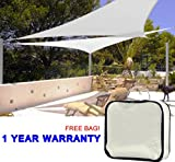 Quictent 18 x 18 x 18 ft 185G HDPE Triangle Sun Sail Shade Canopy UV Block Top Outdoor Cover Patio Garden Ivory (Beige)+ Free Carry Bag